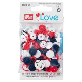 Prym Love Drukknopen Ster Rood Wit Blauw