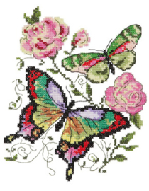 Borduurpakket Butterflies and roses - Chudo Igla