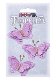 Papieren Vlinders Lavendel 6cm