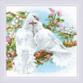 Borduurpakket White Doves - RIOLIS