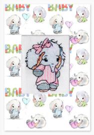 Borduurpakket Postcard Baby Elephant Pink - Luca-S