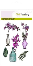 CraftEmotions clearstamps A6 - orchidee, vazen en fles