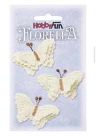 Papieren Vlinders Creme 6cm