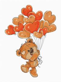 Borduurpakket Teddy Bear Heart Balloons - Luca S
