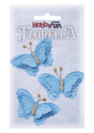 Papieren Vlinders Blauw 6cm