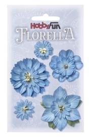 Papieren Bloemen Blauw