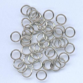 Split ring gehard zilverkleur 6 mm 50 Stuks