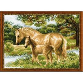 Borduurpakket Horse With Foal - Riolis