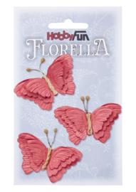 Papieren Vlinders Rood 6cm