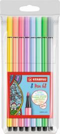 Viltstiften Stabilo pen 68 pastel: 8 stuks