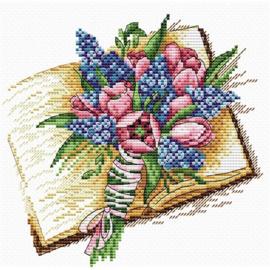 Borduurpakket Boek Met Bloemen - mp studia