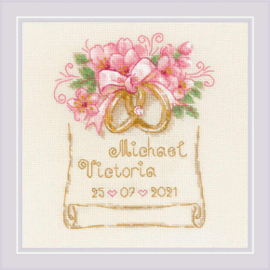 Borduurpakket Wedding Metric Wedding Rings - Riolis