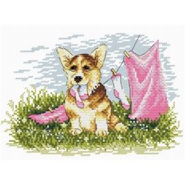 Borduurpakket Hond Met Wasgoed