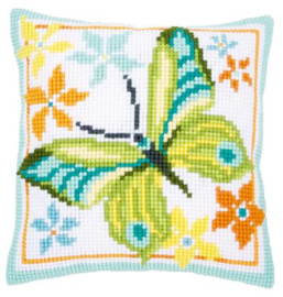 Kruissteekkussen kit Groene vlinder
