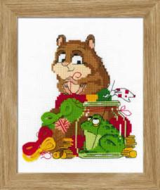 Cross stitch kit Hamster and Toad - Borduurpakket