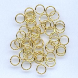 Split ring gehard goudkleur 6 mm 50 Stuks