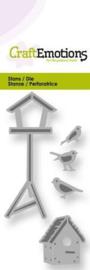 CraftEmotions Die - vogelhuisjes en vogels Card 5x10cm