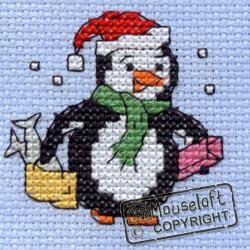 Borduurpakket Christmas Pinquin Shopping - MOUSELOFT