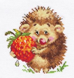 Borduurpakket Hedgehog with Strawberries - Alisa