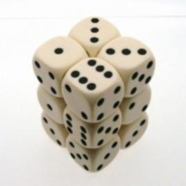 Ivoorkleurige Dobbelstenen - 16mm