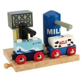 Melk En Water Opslag Voor Houten Treinbaan