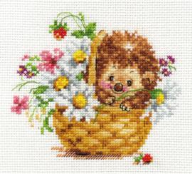 Borduurpakket Hedgehog in daisies - Alisa