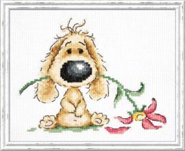 Borduurpakket Puppy and Flowers - Chudo Igla