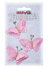 Papieren Vlinders Roze 6cm