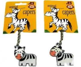 Metalen Zebra Sleutelhanger