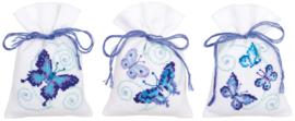 Kruidenzakje kit Blauwe vlinders set van 3