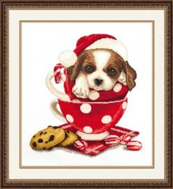 Borduurpakket Christmas St.Bernarddog - Oven