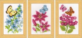 Miniatuur kit Bloemen en vlinders set van 3
