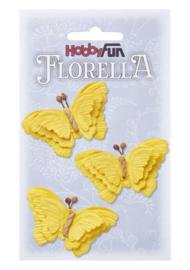 Papieren Vlinders Geel 6cm