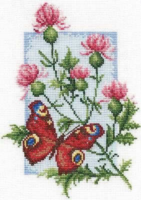 Borduurpakket Butterfly with Flower - PANNA