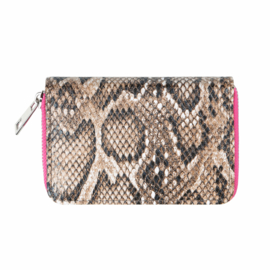 Wallet Sassy Snake - bruin/roze