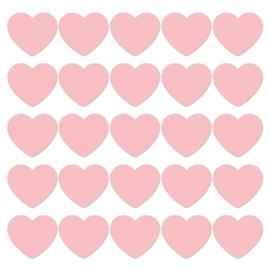 Pastel Pink hearts - 10 stuks