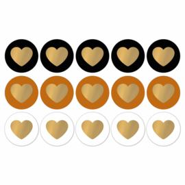 Lovely Hearts - basics/goud - 10 stuks