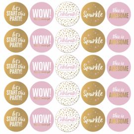 Let's Party! - roze/wit/goud - 10 stuks