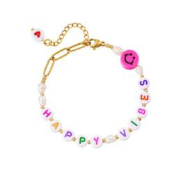 Roestvrijstalen armband Happy Vibes