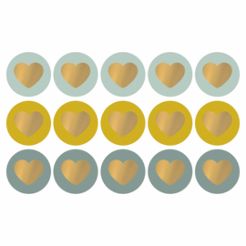 Lovely Hearts - cool tones/goud - 10 stuks