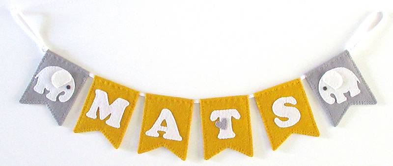 Naamslinger mini voor Mats, Olifant