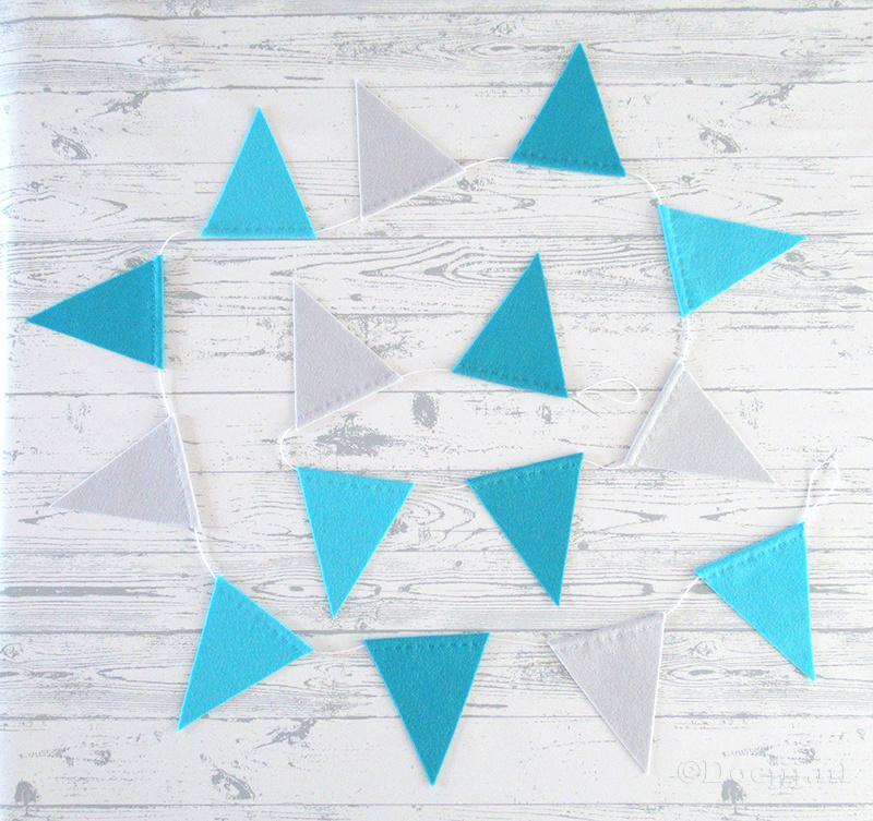 Vlaggenlijn, hemelsblauw/ijsblauw/muisjesgrijs