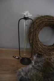 vaasje voor 1 bloem, zink en glas