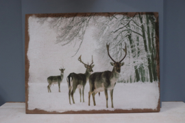 wandpaneel troep herten in de sneeuw