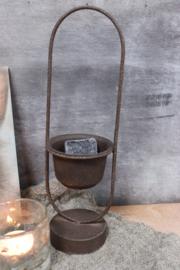 roestig plantenbakje / houder amberblokjes model lang