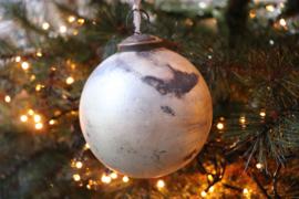 Grote kerstbal mat goud, zwart