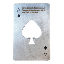 Speelkaart flesopener RVS