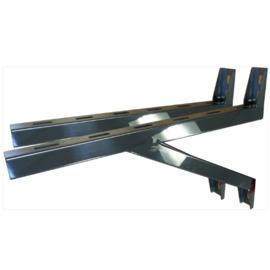 Wandbeugel de Luxe RVS zware uitv. L=65cm t.b.v. stoelconstructie T-stuk Rookkanaal