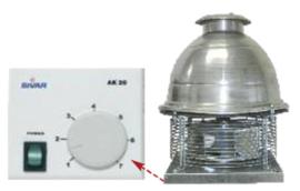 Rookkanaal ventilator met regeling