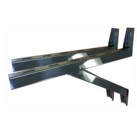 Wandbeugel de Luxe RVS zware uitv. L=45cm t.b.v. stoelconstructie T-stuk Rookkanaal